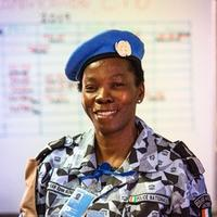 A police officer from Côte d'Ivoire serving with UN police in Fort-Liberté, Haiti.